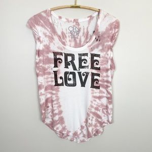 CHASER Free Love Tie Dye Graphic Tee M Boho New